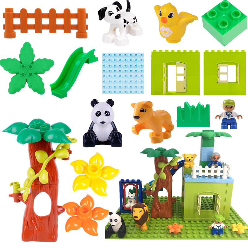 Diy Accessories Building Blocks Happy Family Forest House Animals Compatible With L Brand Duploe Parts Toys For Children Gifts