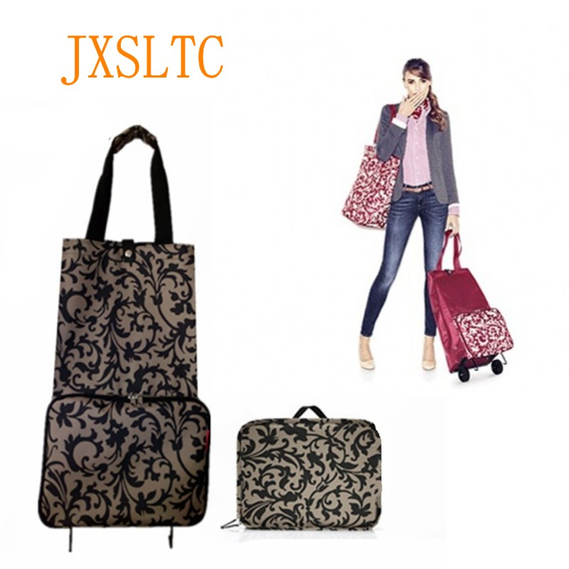 JXSLTC New Shopping Bag Foldable Shopping Cart With Wheels Small Handbag La Lady Buy Vegetable Bag Pull Shopping Bag Travel Bag