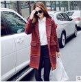 Mulheres casacos de lã casaco de lã das mulheres 2015 outono nova europeu grande longo casaco xadrez moda mulheres casacos de inverno das mulheres roupas