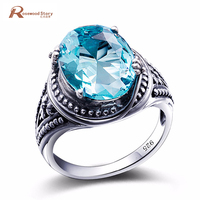 Classic Boho Vintage Punk 925 Sterling Silver Rings Carving Blue Aquamarine For Women Men Bohemian Ring