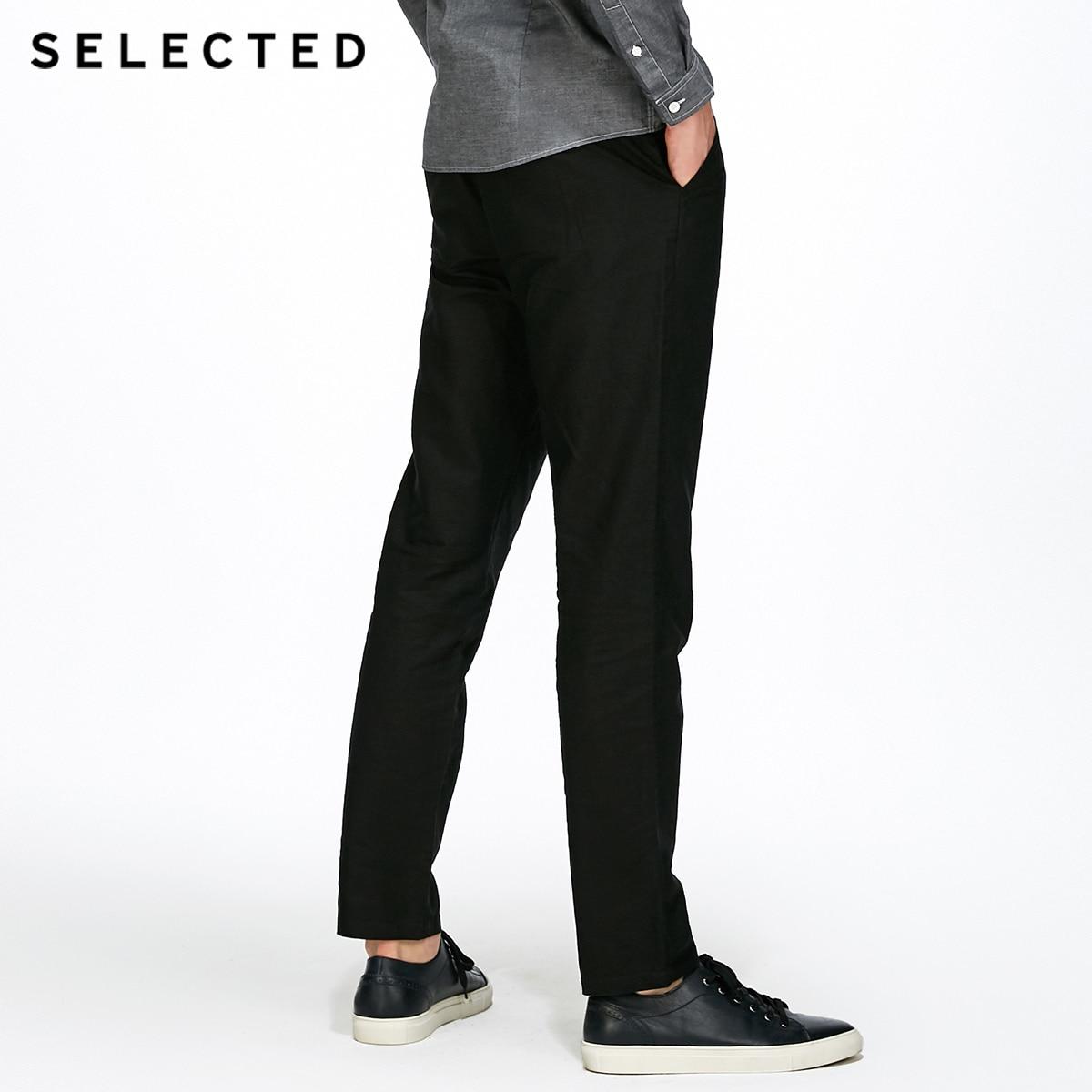 SÉLECTIONNÉ d'affaires décontracté décontracté coton linge de mode pantalon droit C | 417314508 - 4