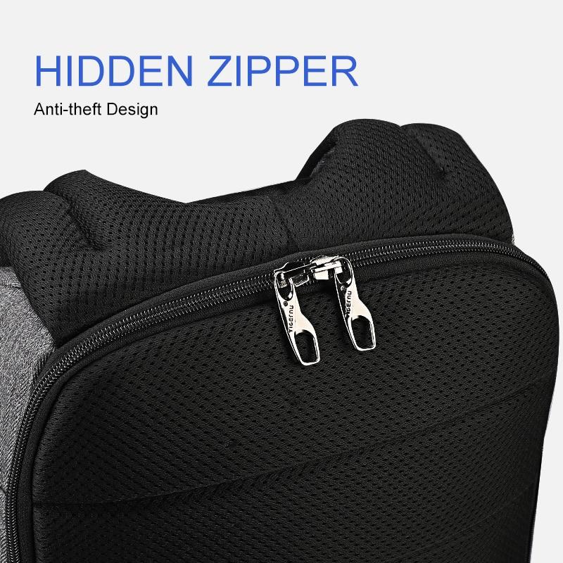Tigernu nouveau Anti-vol USB chargeur sac à dos ordinateur portable étanche voyage sac à dos homme sac à dos décontracté pour homme - 5