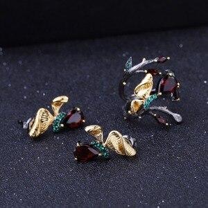 Image 5 - GEMS BALLET Anillo de plata de primera ley con forma de mariposa para mujer, sortija, plata esterlina 925, color granate, rojo, Natural, 2,37 quilates, hecho a mano