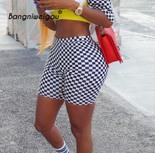 Bangniweigou Checkerboard Biker Shorts Sexy Hip Wrap Skinny Fitness Bottoms Women Gym Workout Black White