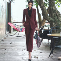 2018 Autumn One Button Notched Solid Blazer Coat Long Pant Office Work Burgundy Two Piece Sets Suits