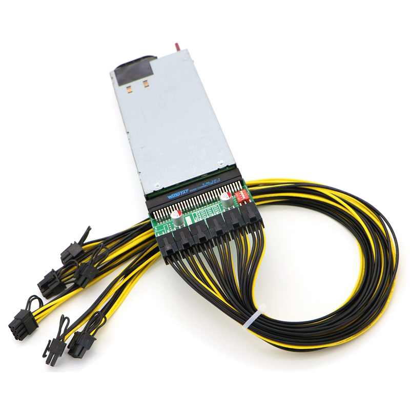 Mining Power Supply Kit 1200W PSU Server, Breakout Board, 6pcs PCIe 6Pin Cables.