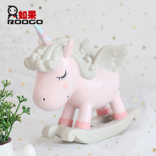ROOGO wedding decoration pink light blue designed Unicorn ornament flying horse with single horn figurines unicorn statue
