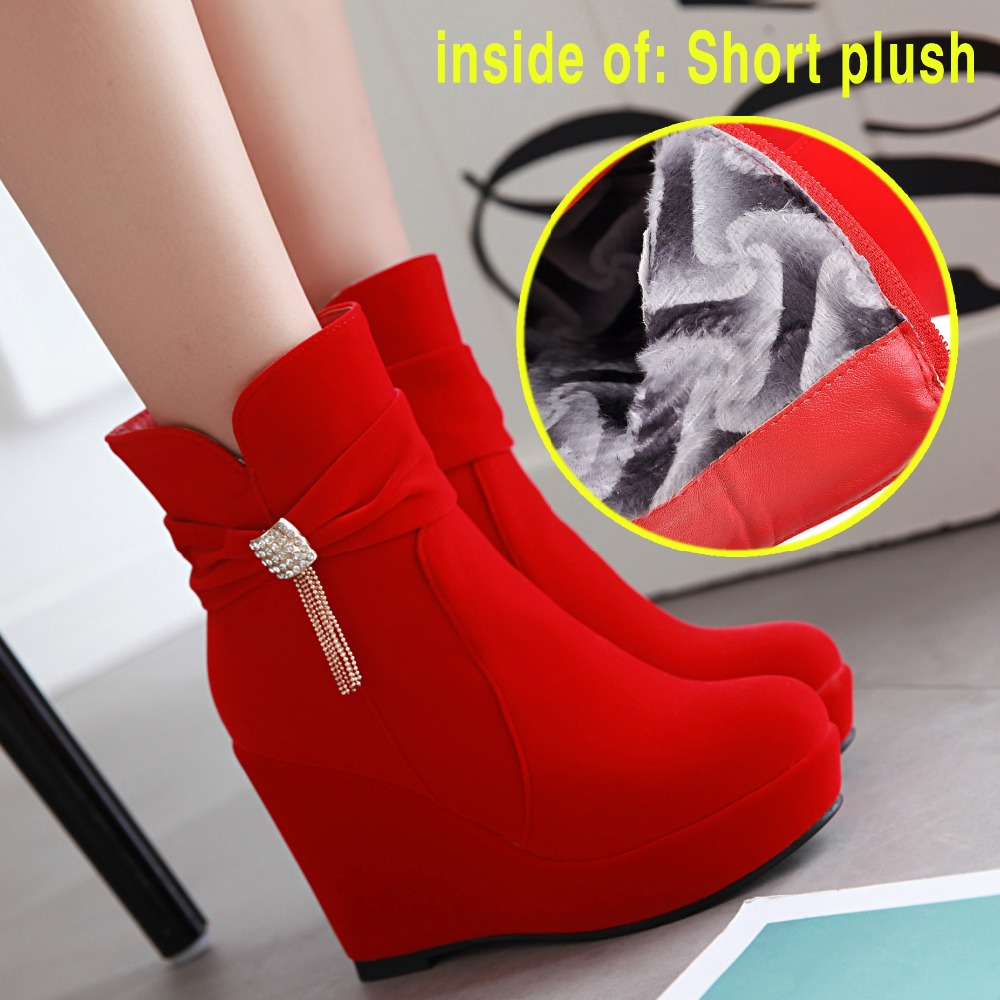 ФОТО 2016  Leisure Fashion Winter Heels  Women Boots Platform Wedge Boots Ladies Ankle Boots  with Zipper decoration  rhinestone