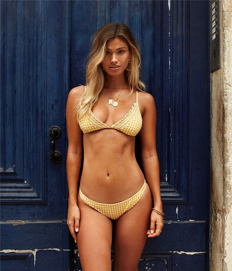Phaixoneible New 2019 Swimwear Women Swimsuit Sexy Bikini Set Push Up Bathing Suit Plaid Beachwear Female Halter in Bikinis Set from Sports Entertainment