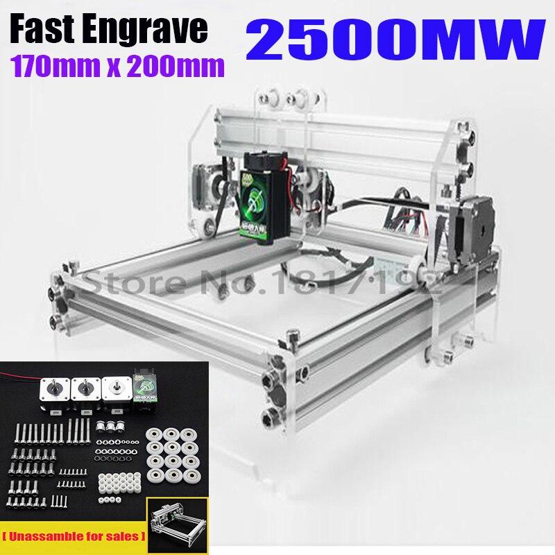 2500mw laser machines,  engrave format 17*20cm 2.5 Wate laser engraving machine, DIY mini laser engraving machine, ship via DHL