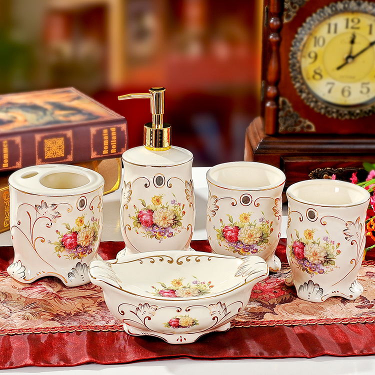 Bathroom Accessories 2014 aliexpress : buy 2014 rose ivory ceramic bathroom accessories