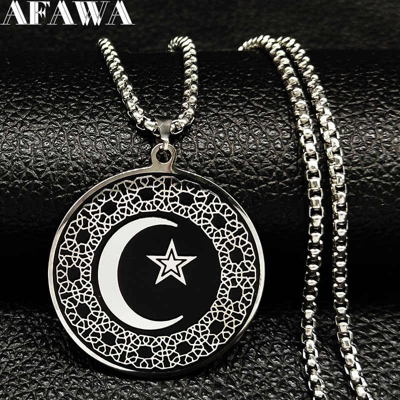 2019 Fashion Muslim Star Moon Stainless Steel Necklaces Men Black Silver Color Luna Necklaces Pendants Jewelry colgante N18538