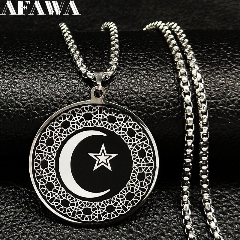 2020 Fashion Muslim Star Moon Stainless Steel Necklaces Men Black Silver Color Luna Necklaces Pendants Jewelry colgante N732S02