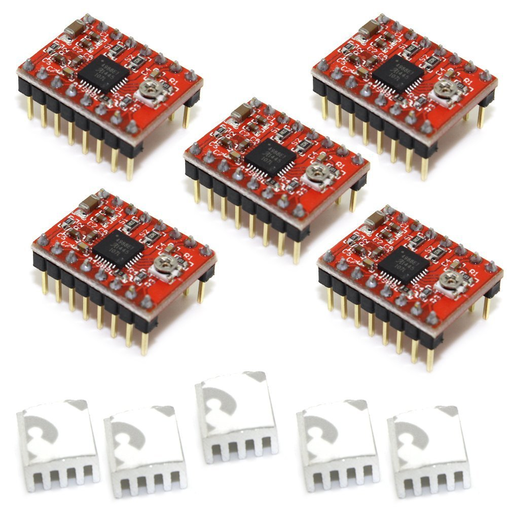 5Pcs/Lot Red StepStick A4988 Stepper Motor Driver(with Heatsink,1A) for 3D Printer Free Shipping