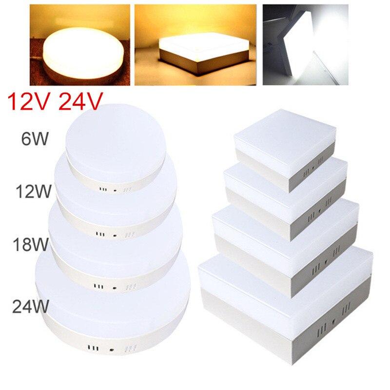 AC/DC 12V 24V 6W 12W 18W 24W Square LED Panel Light Surface Mounted LED Ceiling Down Light indoor Lighting Lamp