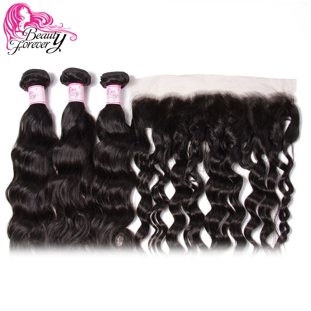 Beauty Forever Natural Wave Brazilian Human Hair 3 Bundles With Lace Frontal Closure 13*4 Free Part 100% Remy Hair Weaves-in 3/4 Bundles with Closure from Hair Extensions & Wigs    3
