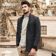 SIMWOOD New Autumn Winter 2016 en's Suit Jacket Fashion Slim Fit Brazer Casual Blazers 52.6% Wool Men High Quality XZ6110