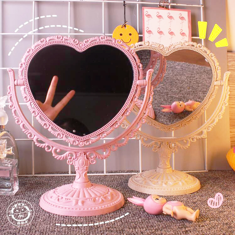 Vintage Kawai Style Desktop Mirror LOVE Heart-shaped Oval Dream Rotating Decoration Mirror Girl's Gift