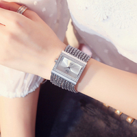 Vintage Silver Quartz Watch Fashion Stainless Steel Luxury Women Watches Rhinestone Ladies Bracelet Watches Relogio Feminino