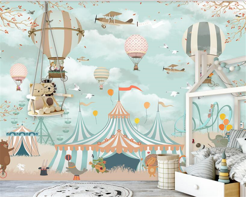 Beibehang Large 3d Wallpaper Cartoon Hot Air Balloon Airplane Animal Pup Circus Playground Background Wall 3d wallpaper mural free shipping cartoon art wall clock stickers 3d mute stereo digital color wall clock personality wallpaper mural szt 40