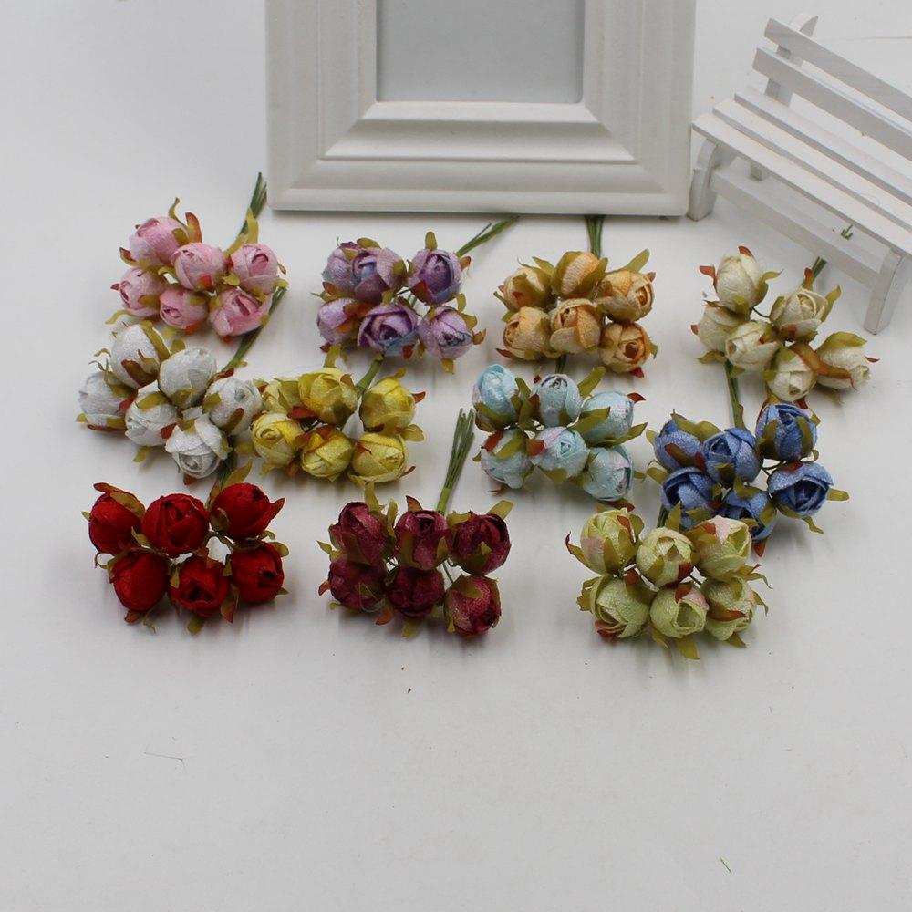 30pcs /lot Small Camellia Silk Artificial Bouquet Home Rental Wedding Dresses Garland DIY Candy Box Gift Small Flowerpot Flower
