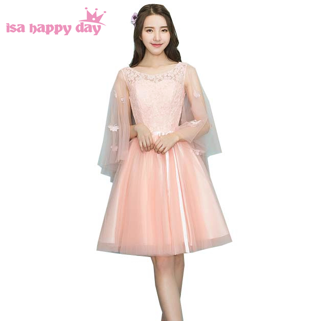 2019 pageant formal capped peach pretty tulle lace o illusion corset   prom     dress   applique   dresses   short ball gowns H4099