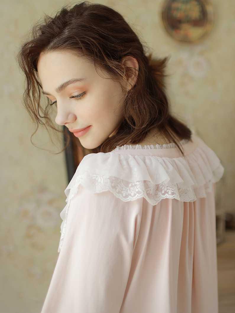 376ce405cd ... Nightgown Women Cotton Vintage Night Dress Pink Sleepwear Long Long  Sleeve Dress Homewear Goddess Nightdress V