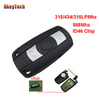 OkeyTech Remote Control For BMW 3 5 Series X1 X6 Z4 Smart Key 3 Button Remote