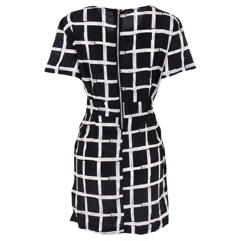 Women Summer Striped Black Dresses Short Sleeve Slim Sexy Polyester Casual Plaid Pencil Mini Dress