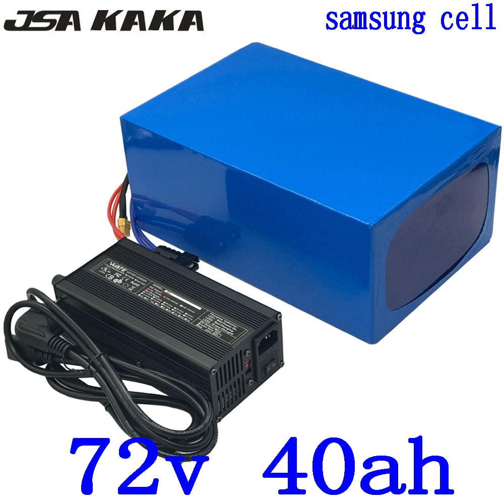 72V 40AH Lithium battery 72V 40AH Electric bike Battery 72V 3000W 4000W scooter battery use samsung cell with charger free tax image