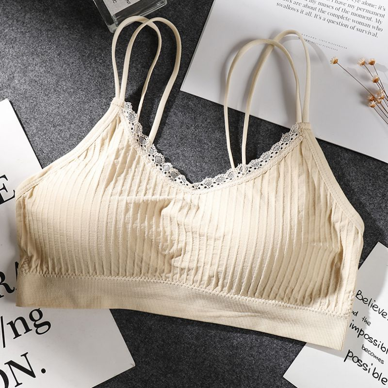 2019 New Sexy Women's Cross Seamless Thread Lace Double Camisole Bottoming Padded Bra Solid Color Bra