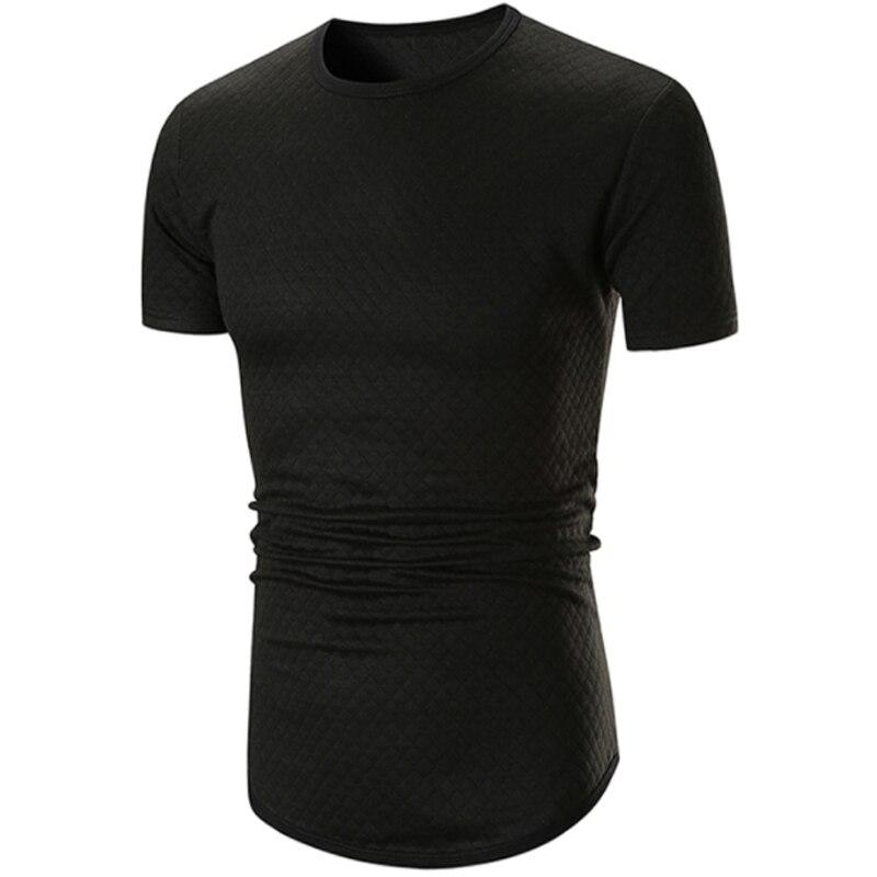 Male 2018 Brand Short Sleeve Solid Color T Shirt O-Neck Small Grid Slim Men T-Shirt Tops Fashion Mens Tee Shirt T Shirts XXL