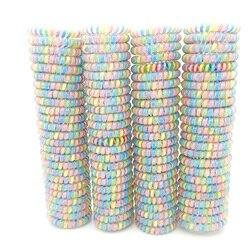 Bande gomme pour fil de téléphone 5 cm | Lot de 100 pièces, bande métallique élastique, corde pour cheveux, Bracelet coloré grande taille