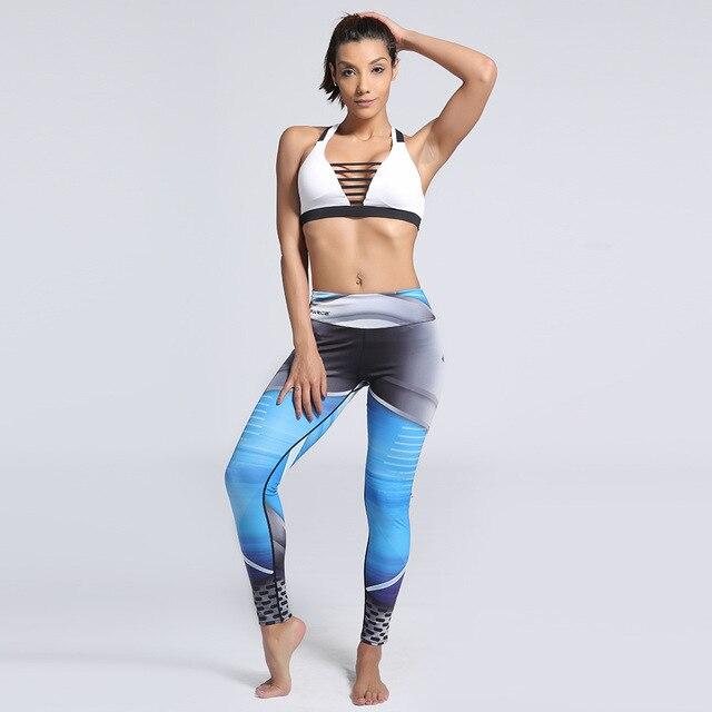 6210398fd430f Space Blue Women Sporting Leggings Elastic Blue Black Print Fitness Leggings  High Waist Pants Plus Size For Women Clothing