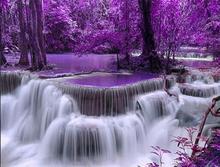 Purple Forest Waterfall Diamond painting
