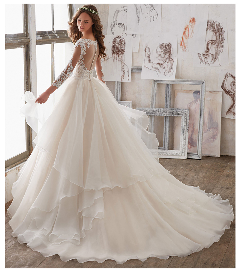 Bridal Hot Detachable Train Wedding Dress Illusion Back Customized Full Sleeves Lace Ruched Elegant Women Bridal Ball Gown in Wedding Dresses from Weddings Events