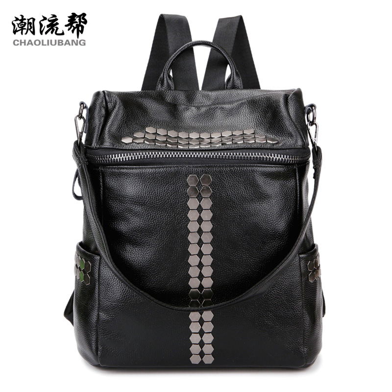 Sky fantasy fashion rivet punk PU black women backpacks casual classic girls shoulder bag Korean style