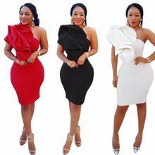 Inclined One Shoulder Side Ruffle Bandage Dress Women Back Slit Sleeveless  Club Dresses Plus Size Vestidos c7980d3de2e0
