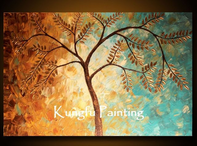 100% hand paint Cherry Blossom Tree Art palette knife textured oil ...