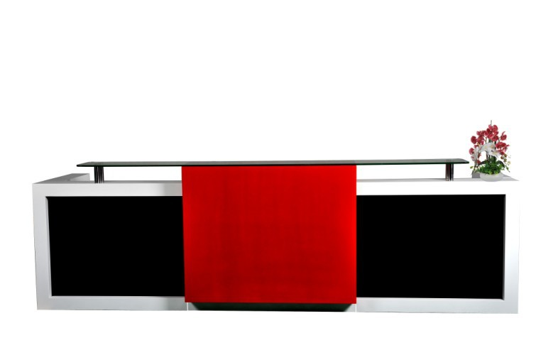 Customized 3m Long Popular And Fancy Elegant Display Office Front Reception Desk Counter Furniture #QT3408