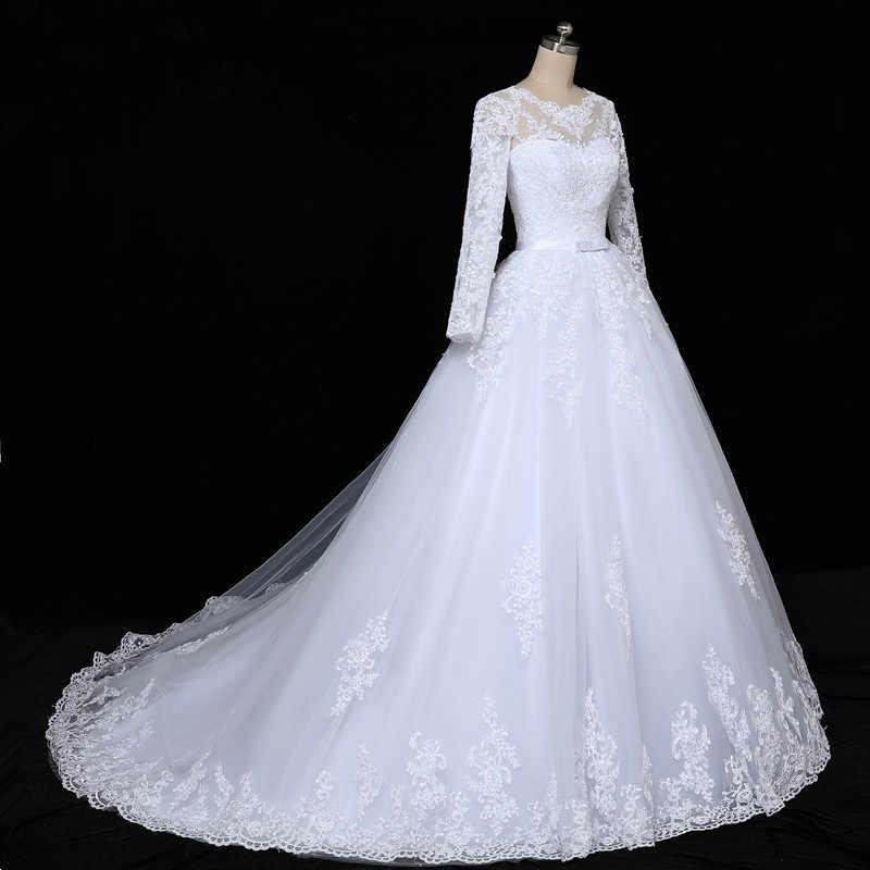 New Arrival Long Sleeves Appliques Vestido De Noiva Lace Gowns Wedding Dress 2019 Custom-made Plus Size Bridal Tulle Mariage