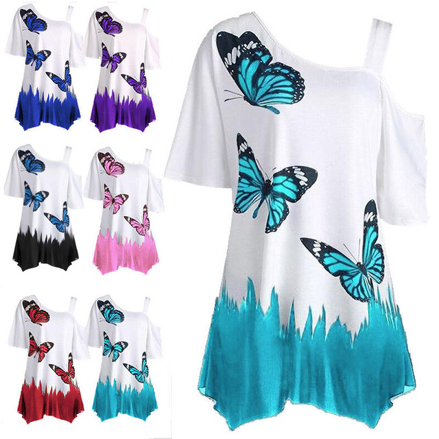 b71909e890f US $12.34 |Blouse 6 22 Plus Size Ladies Loose Tops Hedging Cotton Women One  Off Shoulder Butterfly T Shirt printing Sexy 1pcs fashion-in T-Shirts from  ...