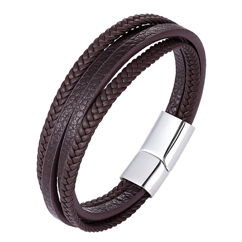 New Design Multi-layers Handmade Braided Stainless Steel Leather Bracelet & Bangle For Men Multiple Styles Birthday Party Gifts