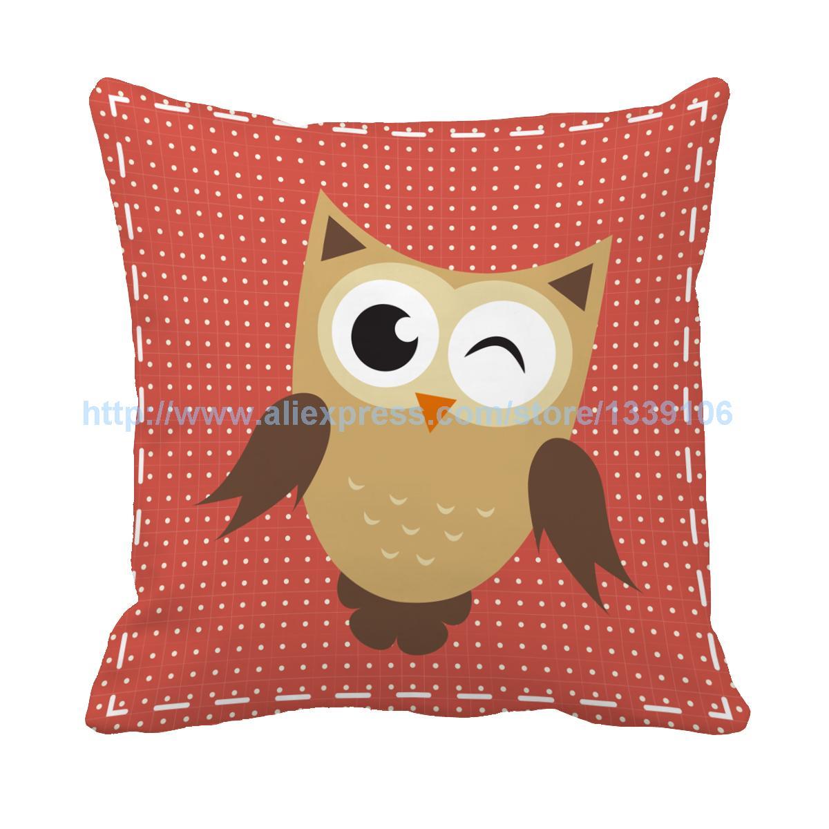 Cartoon owls series print custom light color accent pillows for sofas kids chair cushion home decor almofada deccorative pillows