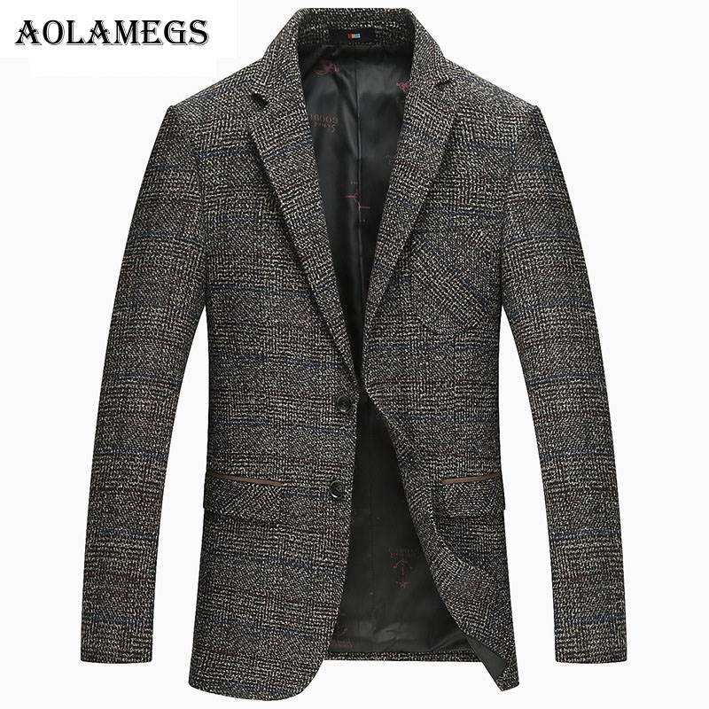 Aolamegs Men's Blazers And Suit Jackets Thick Wool Casual Slim Fit Stylish Blazer Suit Men British's Style blazer Plus Size