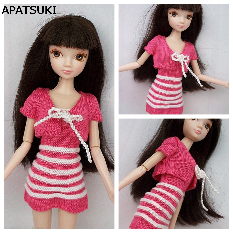2017 Handmade Doll Accessories Pink Knitting Coat & Sweater Dresses For Barbie Doll House For 1/6 BJD Doll uncle 1 3 1 4 1 6 doll accessories for bjd sd bjd eyelashes for doll 1 pair tx 03