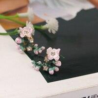 Romantic Ornament Ear Nail Enamel Glaze Cherry Blossoms No Fade Ear Nail Gold Earring 925 Silver Needle Defence Allergy