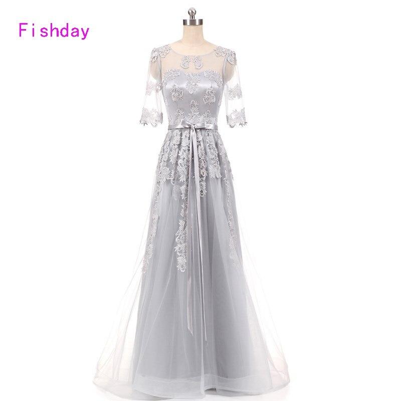 Fishday Evening Gown Dress  Autumn Elegant Long Half Sleeve Lace Plus Size Silver vestidos Formal Kaftan Mother of the Bride B20
