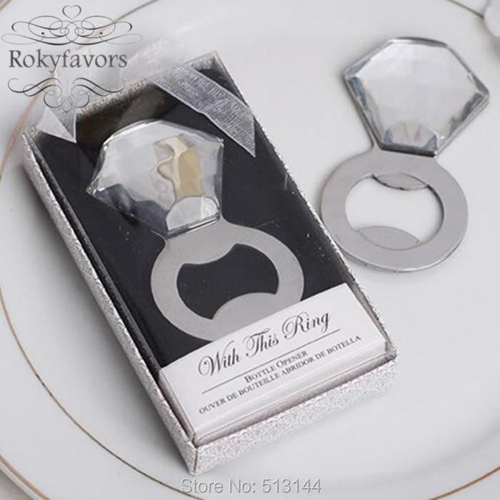 FREE SHIPPING 20pcs Elegant Diamond Ring Bottle Opener