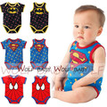 Retail 1-3years 6 patterns short-Sleeved sleeveless Baby boys Infant cartoon bodysuits babys jumpsuits kids Clothing cool summer